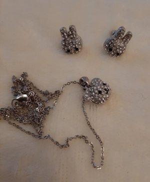 Ohrstecker Ohrringe und Halskette Kette Hase Hasen Häschen Bär Bärchen Strass