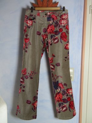Oilily Grau Hose aus Samt Velours - Gr. 40 - Floral - Baumwolle - Boho Style - Blumenmuster