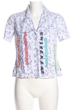 Oilily Camicia a maniche corte bianco-lilla stampa integrale stile casual