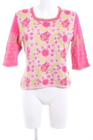 Oilily Strickshirt pink-grün Blumenmuster extravaganter Stil