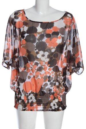 okay Short Sleeved Blouse abstract pattern elegant