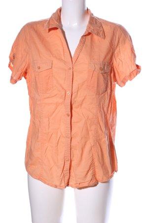 okay Camisa de manga corta naranja claro look casual