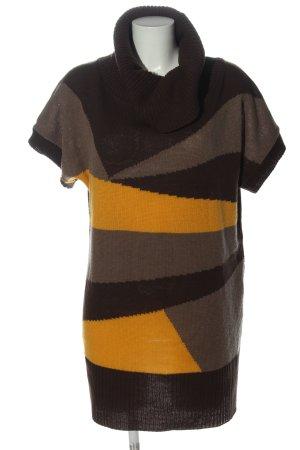 okay Kurzarmkleid bronzefarben-hellorange grafisches Muster Casual-Look