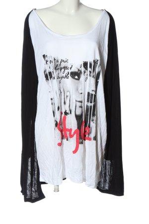 okay Long Blouse black-white themed print casual look