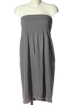 okay schulterfreies Kleid schwarz-weiß Streifenmuster Casual-Look