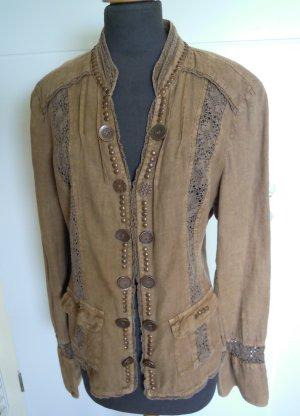 Biba Long Sleeve Blouse cognac-coloured-brown cotton