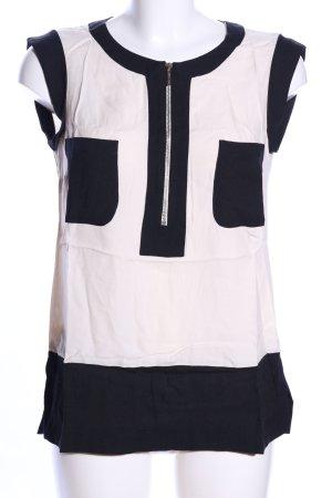 Oky-Coky ärmellose Bluse wollweiß-schwarz Elegant