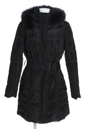 OLANMEAR Płaszcz puchowy czarny Pikowany wzór W stylu casual