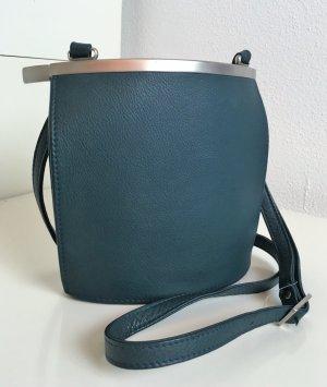 """* OLBRISH * Designer CROSSBODY TASCHE LEDER Petrol Bügelschloss silber """"ARCADE"""" ( NP 295 €)"""