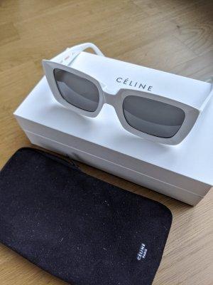 Celine Hoekige zonnebril wit-zwart