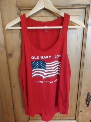 Old Navy Camiseta sin mangas blanco-rojo Algodón