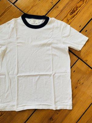 Olderbrother Shirt in Weiß T-Shirt super soft Größe XS Rundhals-Shirt Top Weiß Blau
