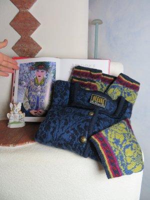 OLEANA Norwegian Story Chunky Blau Jacquard Floral Long Cardigan - Gr. M - 100% Wool Sweater - Echt Norweger Strickjacke