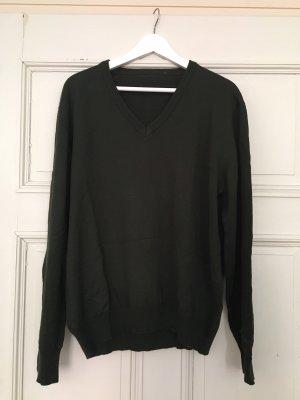 Oliv grüner Pullover V-Ausschnitt