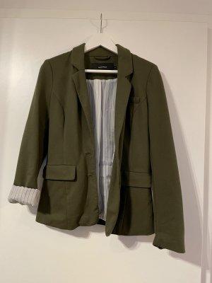 Vero Moda Blazer de tela de sudadera blanco-verde oliva