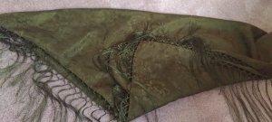 Traditional Scarf green grey-olive green silk