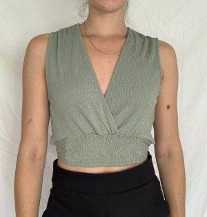 Zara T-shirt court gris vert