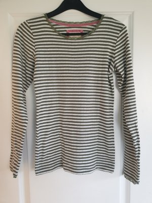 olivgrün/ weiß gestreiftes Sweatshirt
