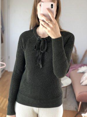 Olivgrüner Pullover mit Schnürung Gr. XS S