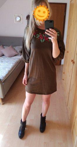 Olivgrünes Kleid mit Blumenmuster und Puffärmeln NEU