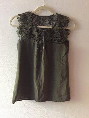 Hallhuber Donna Jedwabny top oliwkowy-zielono-szary Jedwab