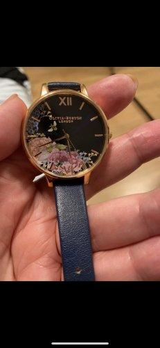 Olivia Burton Montre avec bracelet en cuir bleu foncé