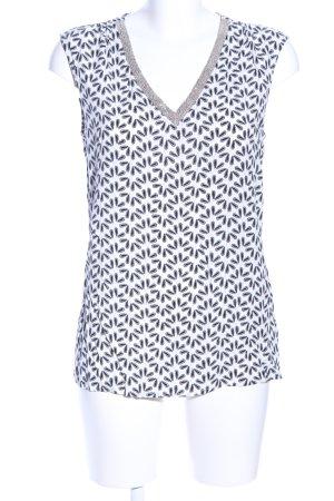 Olsen ärmellose Bluse weiß-schwarz abstraktes Muster Elegant