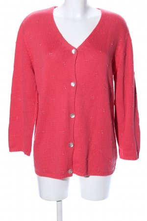 Olsen Collection Strickjacke rot Zopfmuster Casual-Look