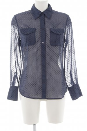 Olsen Hemd-Bluse blau-schwarz Punktemuster Elegant