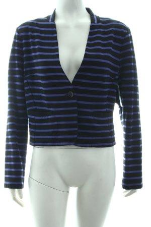 Olsen Kurz-Blazer schwarz-blauviolett Streifenmuster Casual-Look