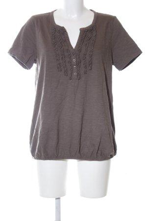 Olsen Kurzarm-Bluse bronzefarben meliert Casual-Look