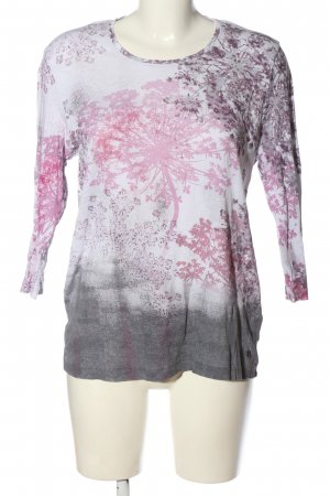 Olsen Feinstrickpullover hellgrau-pink Allover-Druck Casual-Look