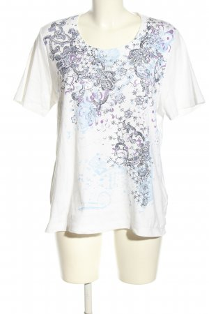 Olsen Print-Shirt weiß-blau Motivdruck Casual-Look
