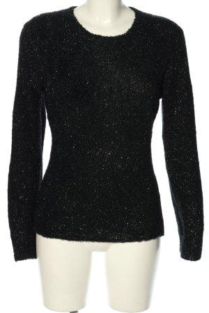 Olsen Rundhalspullover schwarz-silberfarben Casual-Look