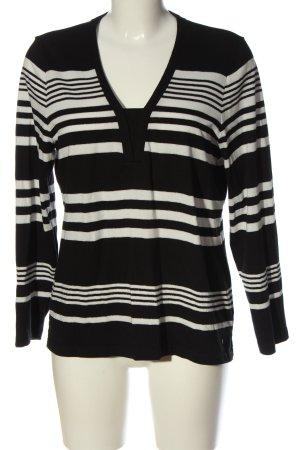 Olsen V-Ausschnitt-Shirt schwarz-wollweiß Allover-Druck Casual-Look
