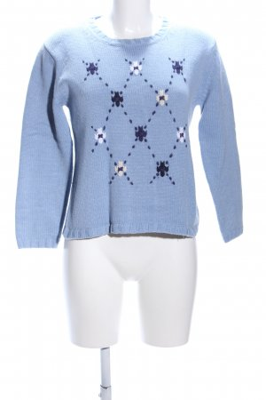 Olsen Strickpullover blau grafisches Muster Casual-Look
