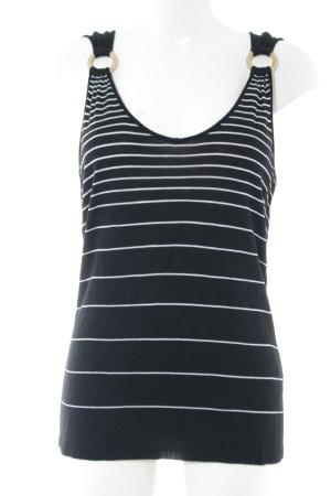 Olsen Gebreide top zwart-wit gestreept patroon elegant