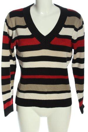 Olsen V-Ausschnitt-Pullover Streifenmuster Casual-Look