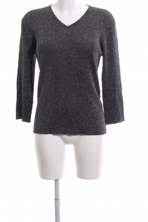 Olsen V-Ausschnitt-Pullover schwarz-silberfarben meliert Casual-Look