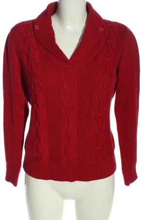 Olsen V-Ausschnitt-Pullover rot Zopfmuster Casual-Look