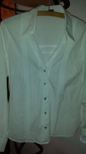 OLSEN weiße Bluse Lochstickerei Gr38