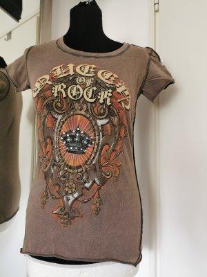 Omaha Rock T-Shirt mit Strass und Druck Gr. S Beige