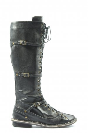 ombre noire Lace-up Boots black casual look