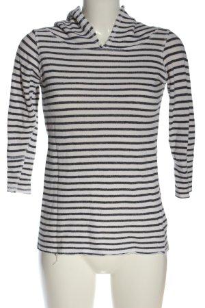 OMGIRL Top à capuche blanc cassé-noir motif rayé style décontracté