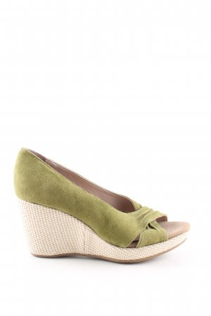 Keil-Pumps khaki-creme Casual-Look