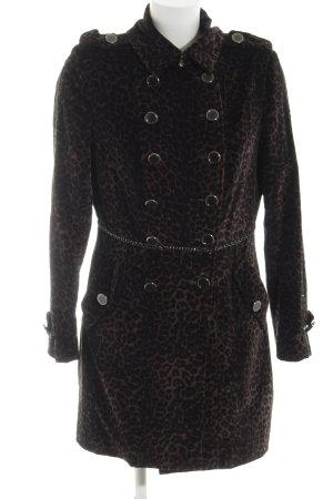 On Parle De Vous Cappotto mezza stagione marrone-nero Stampa leopardata elegante