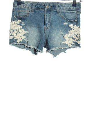One love by colloseum Short en jean bleu-blanc cassé lettrage brodé