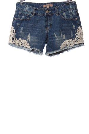one love denim Jeansshorts blau-wollweiß Casual-Look