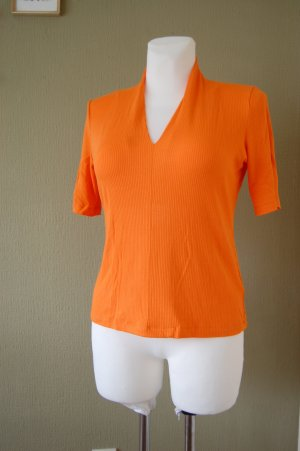 One More Story Ribbed Shirt neon orange