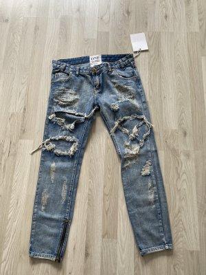 Boyfriend Jeans steel blue-azure